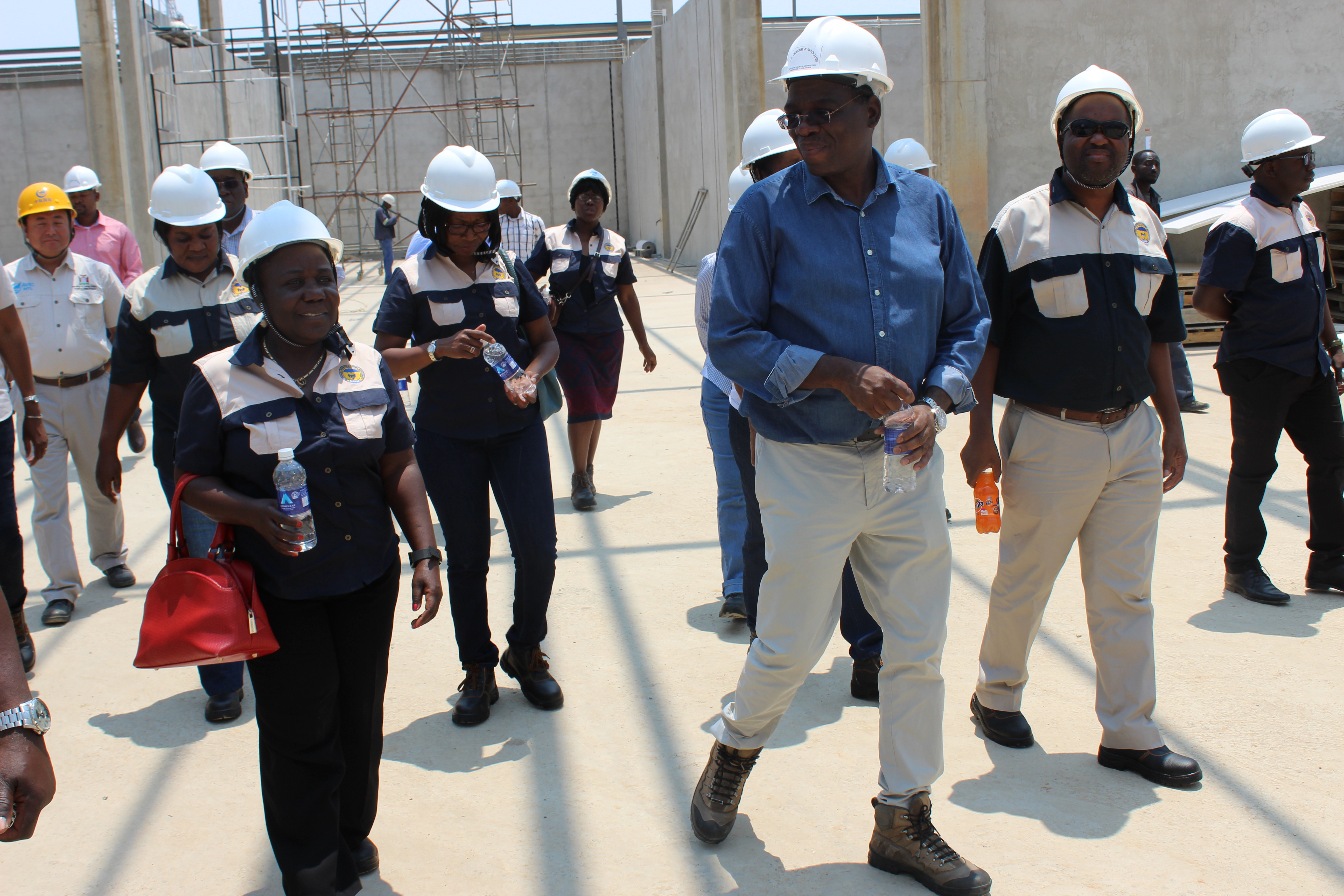 NAPSA Board of trustees tour ECL Mall under construction in Kitwe to check on progress